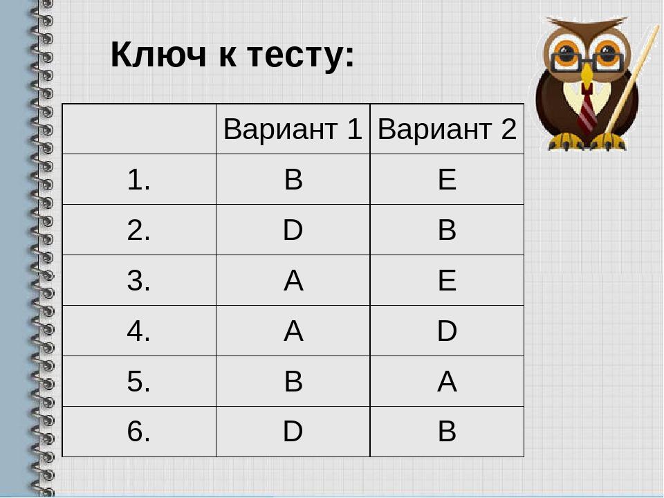 Ключ к тесту: Вариант 1 Вариант 2 1. B E 2. D B 3. A E 4. A D 5. B A 6. D B