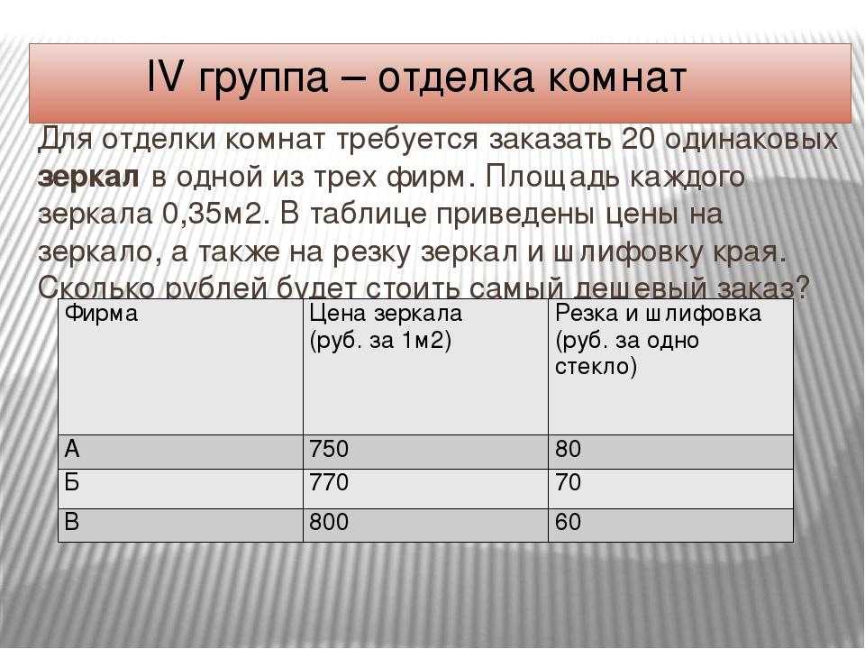 IV группа – отделка комнат Для отделки комнат требуется заказать 20 одинаковы...