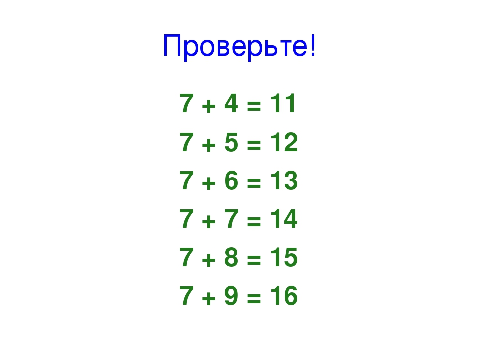 Проверьте! 7 + 4 = 11 7 + 5 = 12 7 + 6 = 13 7 + 7 = 14 7 + 8 = 15 7 + 9 = 16