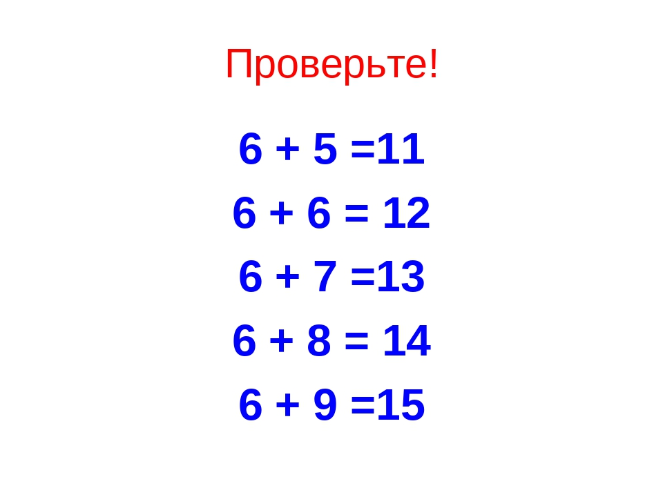 Проверьте! 6 + 5 =11 6 + 6 = 12 6 + 7 =13 6 + 8 = 14 6 + 9 =15