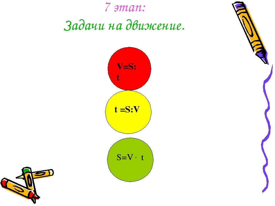 7 этап: Задачи на движение. V=S: t t =S:V S=V t