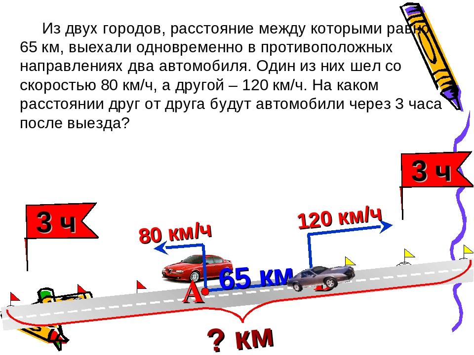 Из двух городов, расстояние между которыми равно 65 км, выехали одновременно...