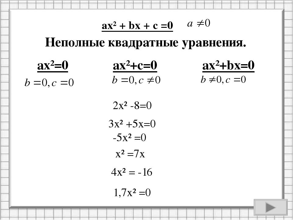 2х² -8=0 3х² +5х=0 -5х² =0 х² =7х 4х² = -16 Неполные квадратные уравнения. 1,...