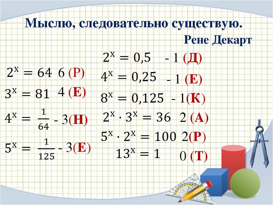 Мыслю, следовательно существую. Рене Декарт 6 (Р) 4 (Е) - 3(Н) - 3(Е) - 1 (Д)...