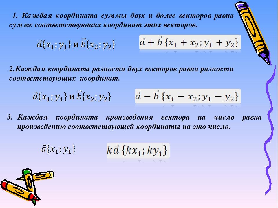 1. Каждая координата суммы двух и более векторов равна сумме соответствующих...