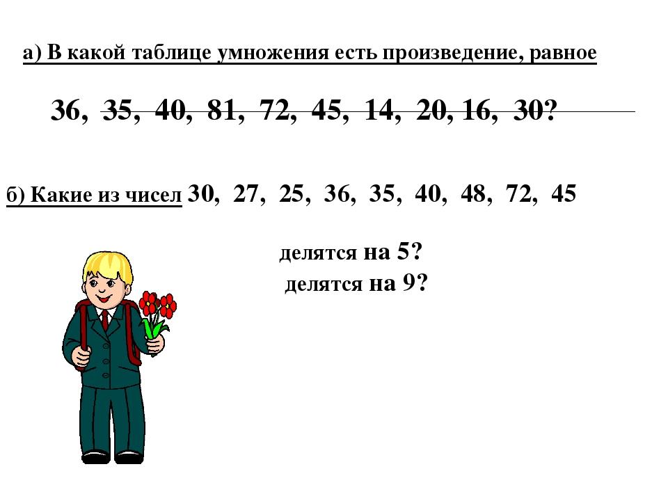 а) В какой таблице умножения есть произведение, равное 36, 35, 40, 81, 72, 45...