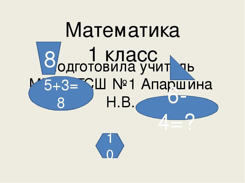 Математика  1 класс  Подготовила учитель МБОУ ГСШ №1 Апаршина Н.В.
