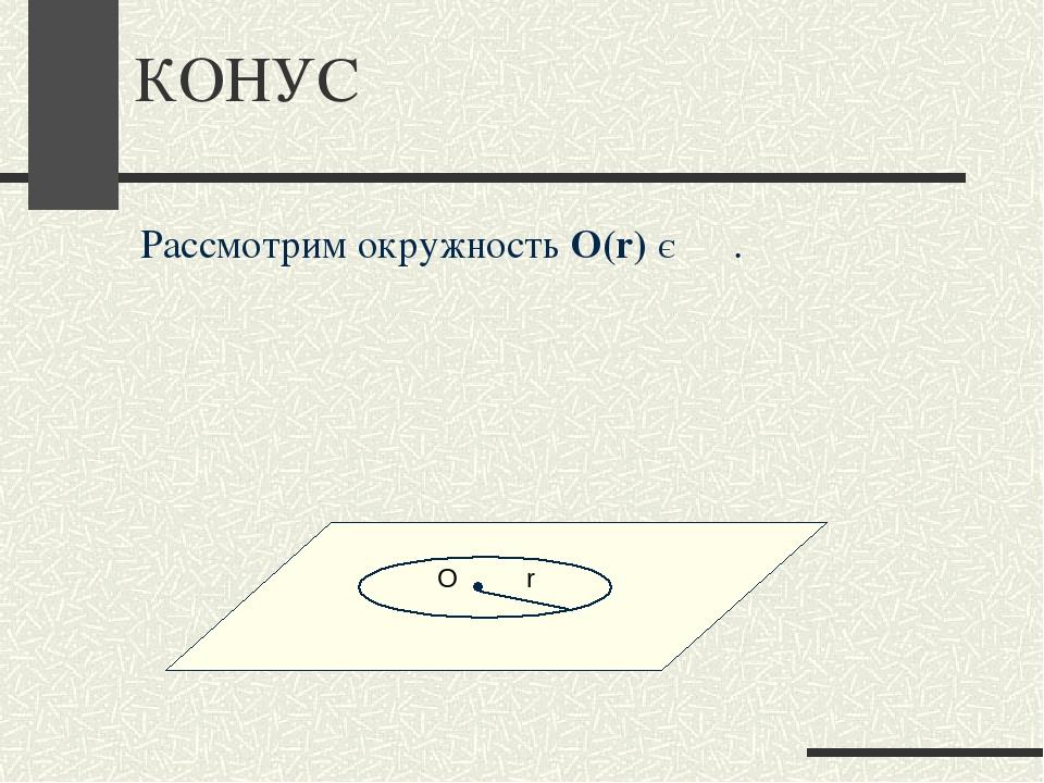 КОНУС α Рассмотрим окружность О(r) Є α . О r