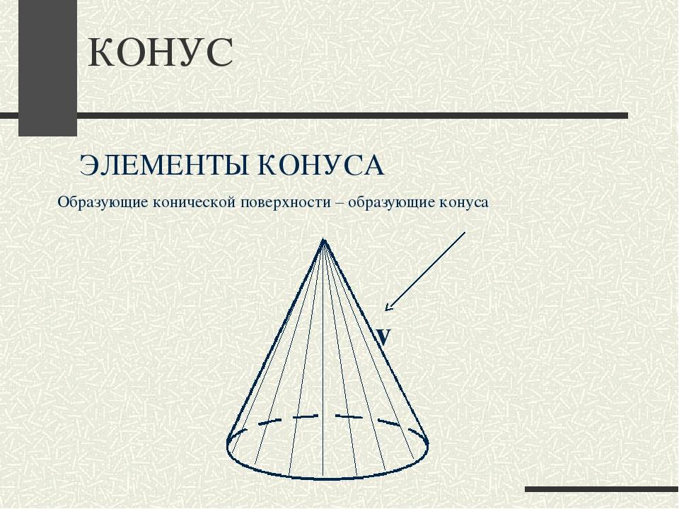 КОНУС ЭЛЕМЕНТЫ КОНУСА Образующие конической поверхности – образующие конуса ℓ
