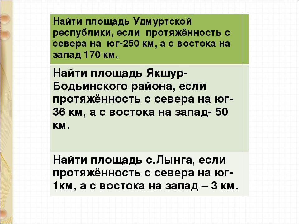Найти площадь Удмуртской республики, если протяжённость с севера на юг-250 км...