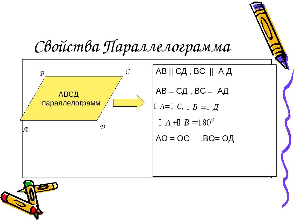 Свойства Параллелограмма АВСД- параллелограмм АВ || CД , ВС || А Д АВ = СД ,...