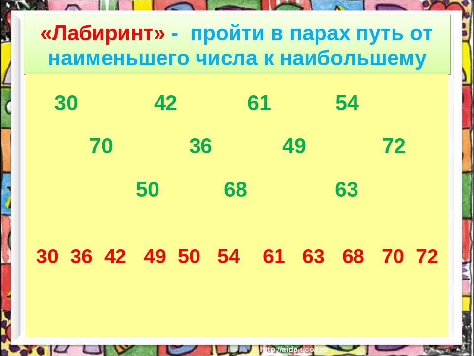 «Лабиринт» - пройти в парах путь от наименьшего числа к наибольшему 30 42 61...
