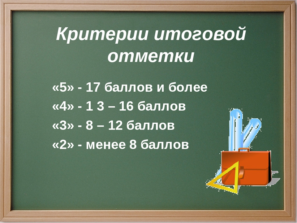 Критерии итоговой отметки «5» - 17 баллов и более «4» - 1 3 – 16 баллов «3» -...