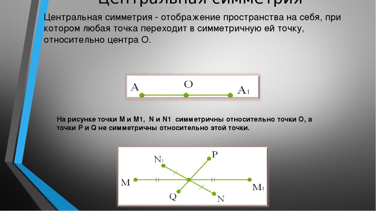 Центральная симметрия Центральная симметрия - отображение пространства на себ...