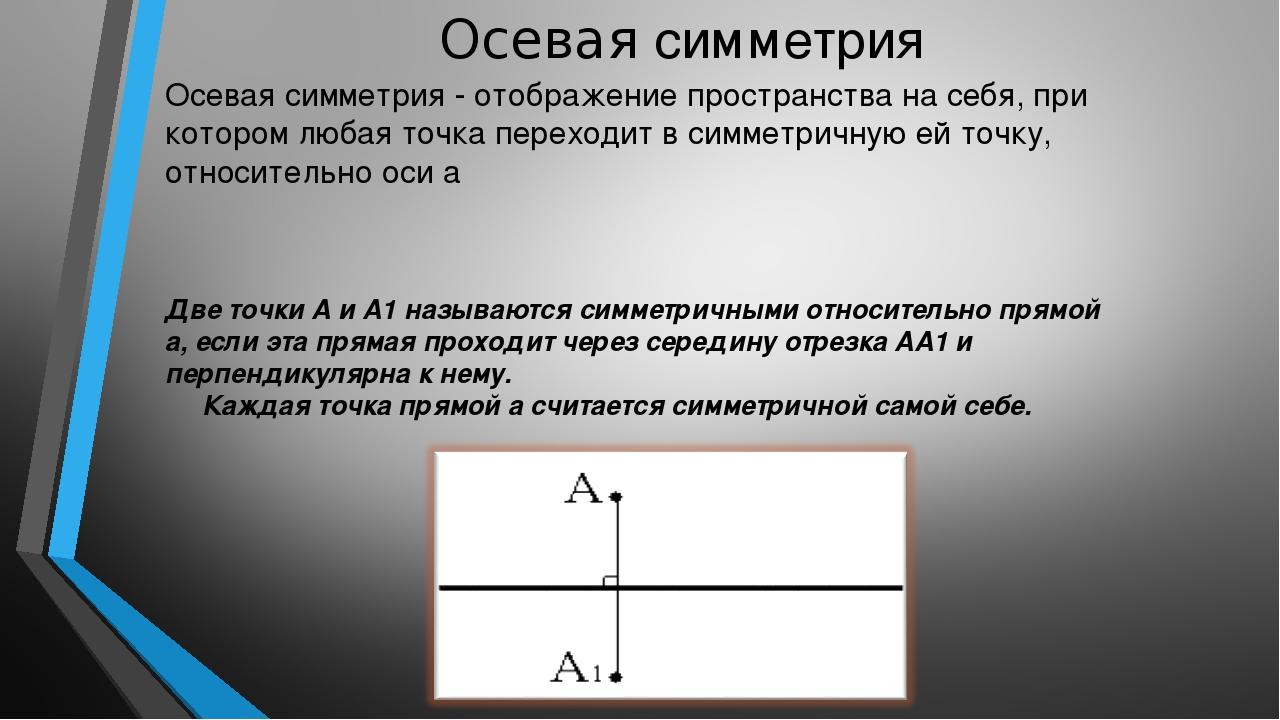 Осевая симметрия Осевая симметрия - отображение пространства на себя, при кот...