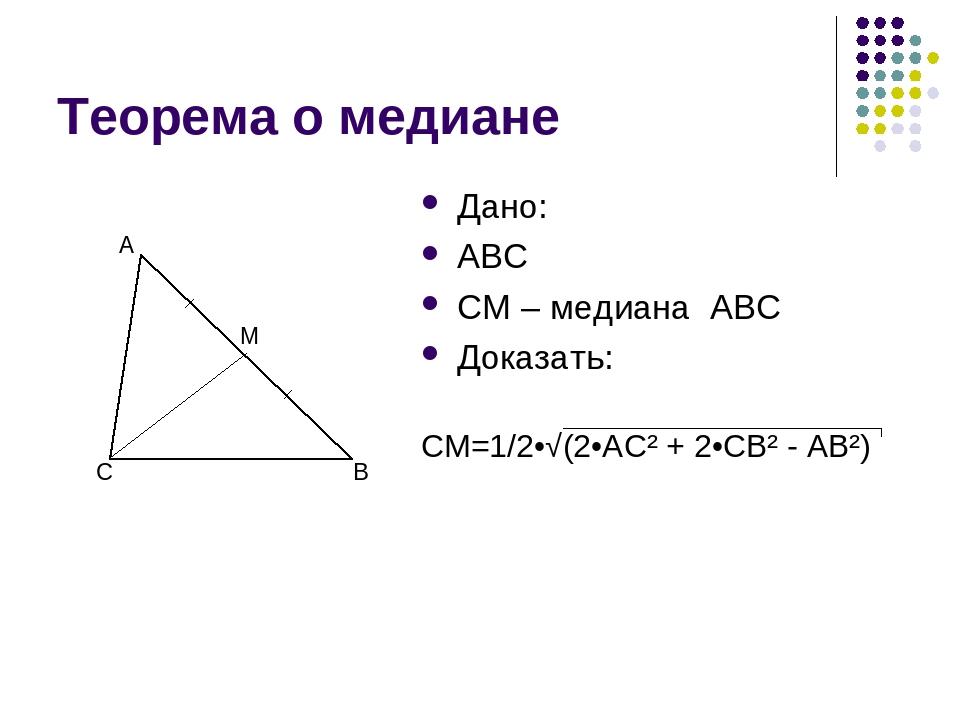 Теорема о медиане Дано: ABC CM – медиана ABC Доказать: C B A M CM=1/2•√(2•AC²...