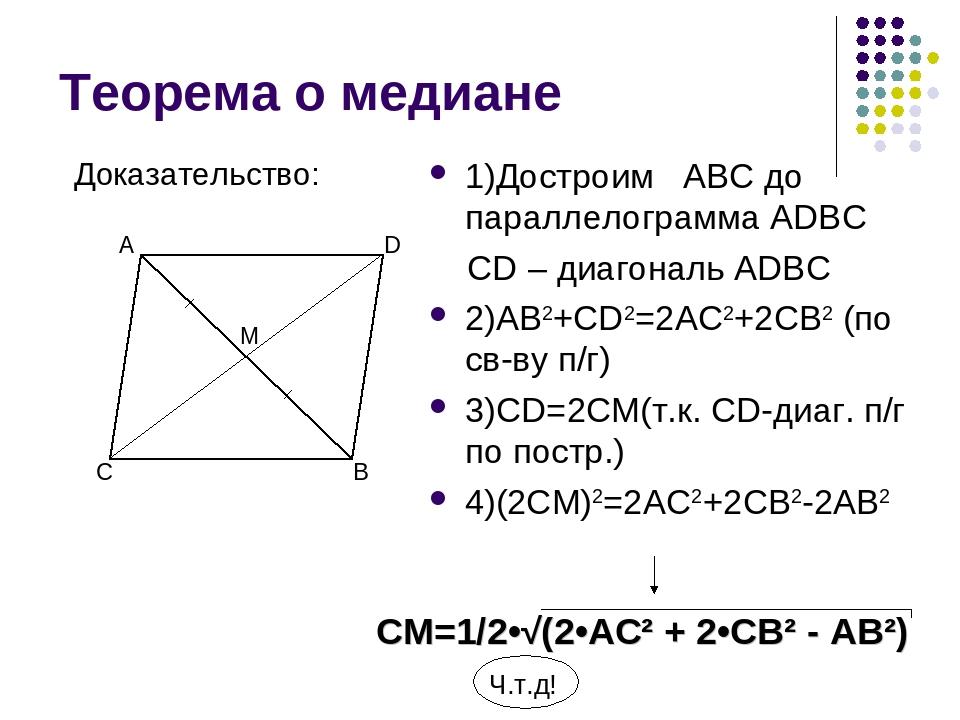 Теорема о медиане 1)Достроим ABC до параллелограмма ADBC CD – диагональ ADBC...