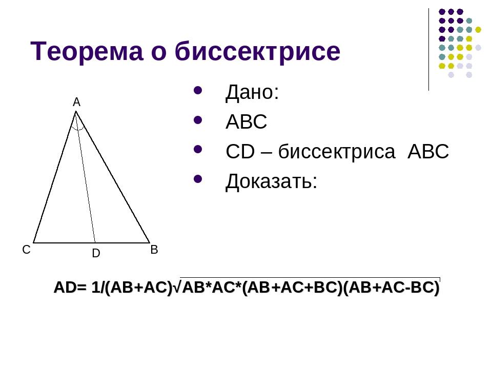 Теорема о биссектрисе Дано: ABC CD – биссектриса ABC Доказать: C B A D AD= 1/...