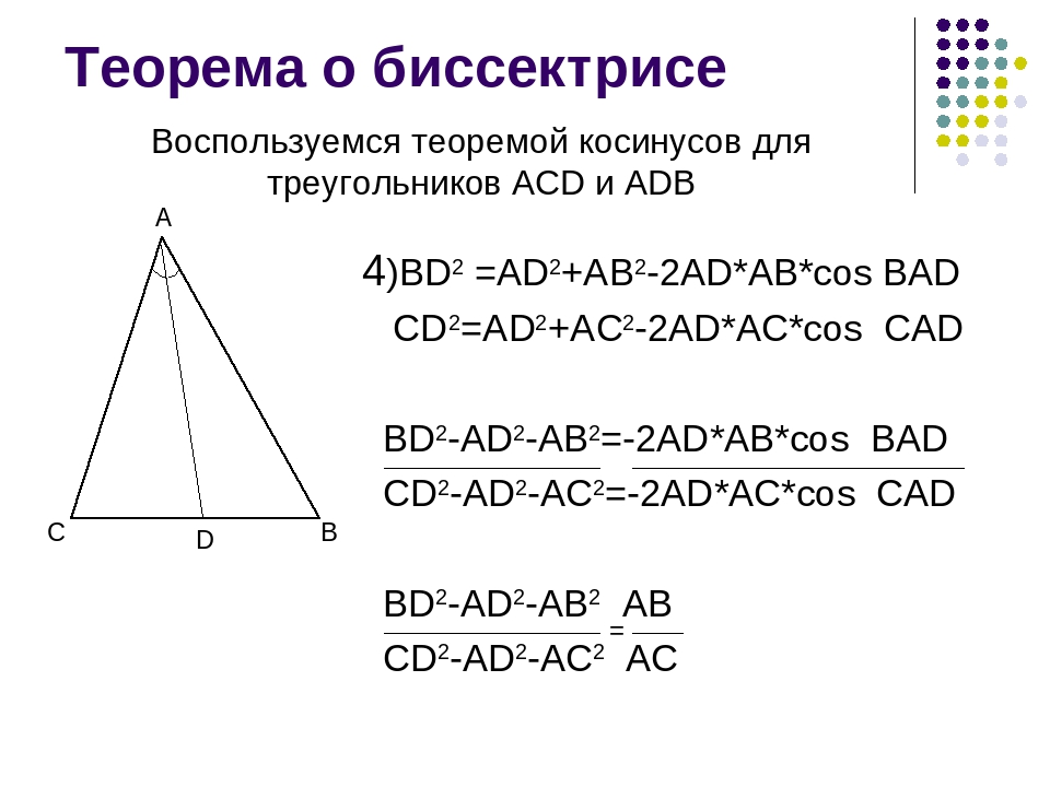 Теорема о биссектрисе 4)BD2 =AD2+AB2-2AD*AB*cos BAD CD2=AD2+AC2-2AD*AC*cos CA...