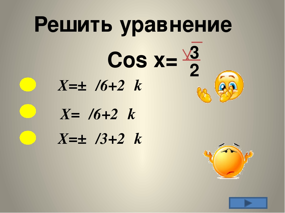 Решить уравнение X=±π/6+2πk Cos x= 3 2 X=π/6+2πk X=±π/3+2πk