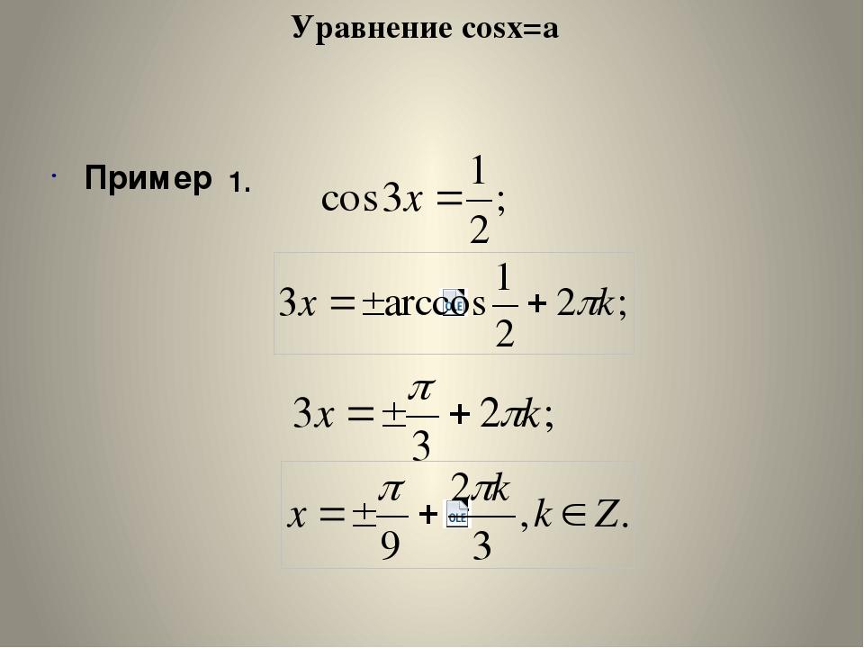 Уравнение cosx=a Пример 1.