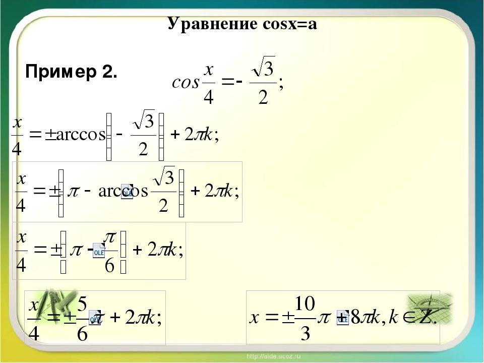 Уравнение cosx=a Пример 2.