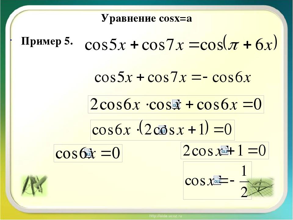 Уравнение cosx=a Пример 4.
