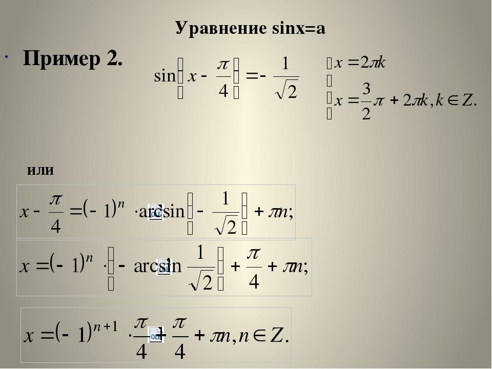 Уравнение sinx=a Пример 3.