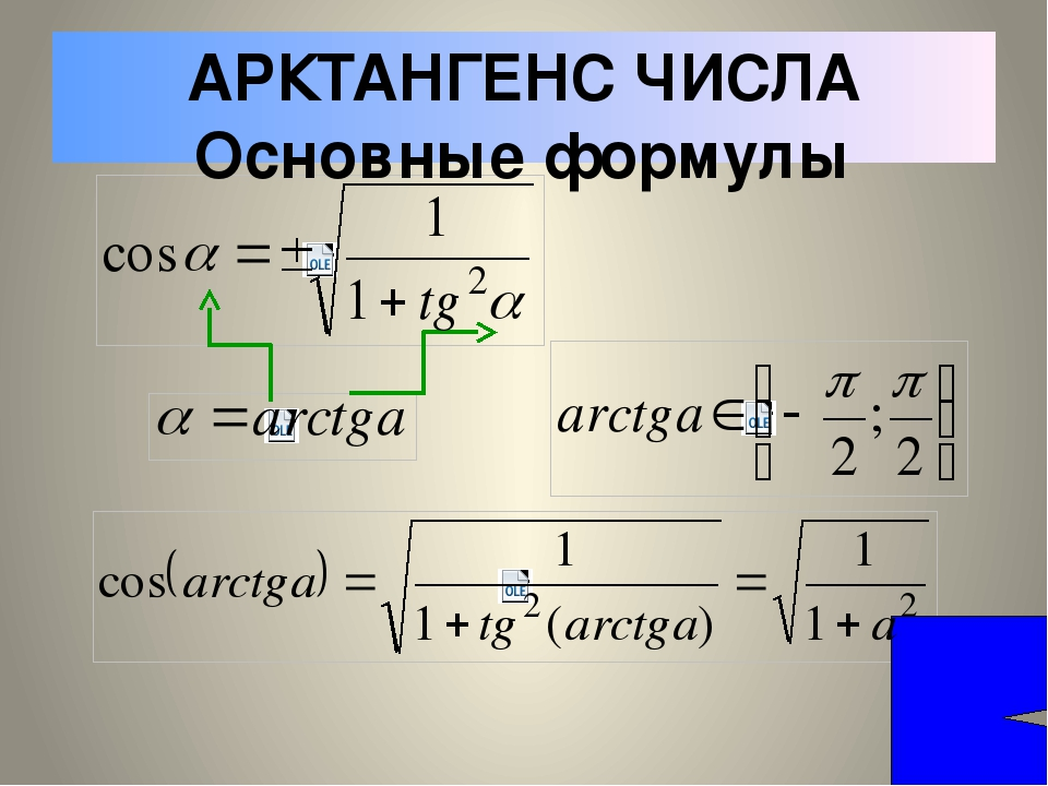 АРКТАНГЕНС ЧИСЛА Основные формулы Вычислите: 1. 2. 3.