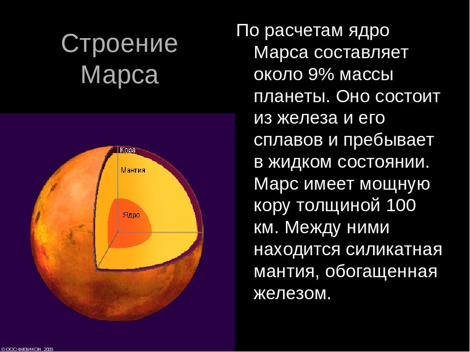 Строение Марса По расчетам ядро Марса составляет около 9% массы планеты. Оно...