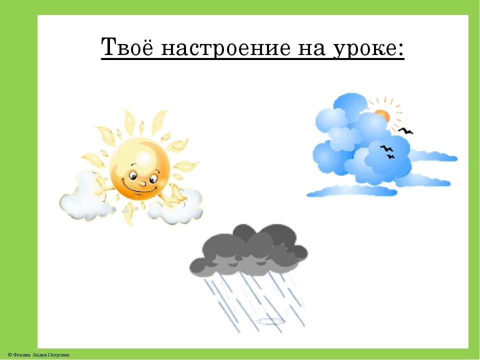 Твоё настроение на уроке: © Фокина Лидия Петровна