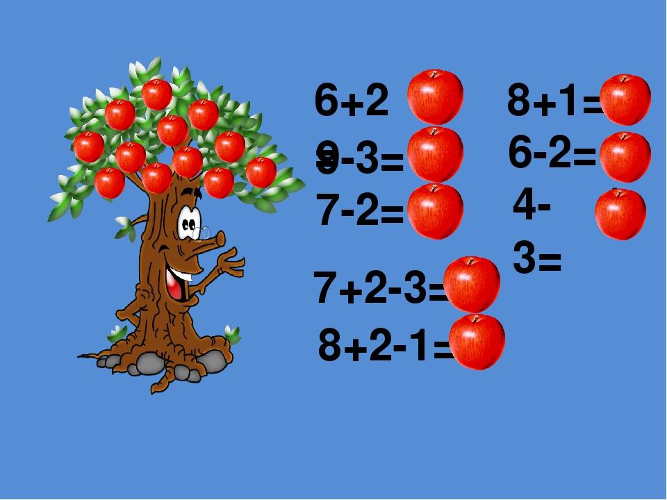 6+2= 8 9-3= 7 7-2= 5 8+1= 9 6-2= 4 4-3= 1 7+2-3= 6 8+2-1= 9