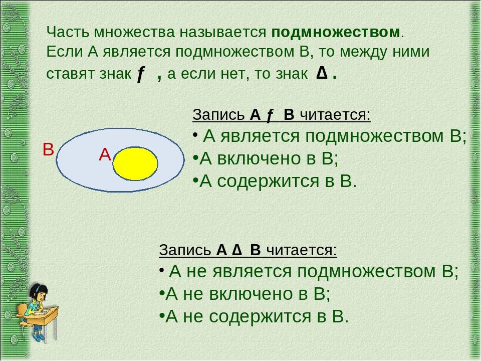 А В Часть множества называется подмножеством. Если А является подмножеством В...