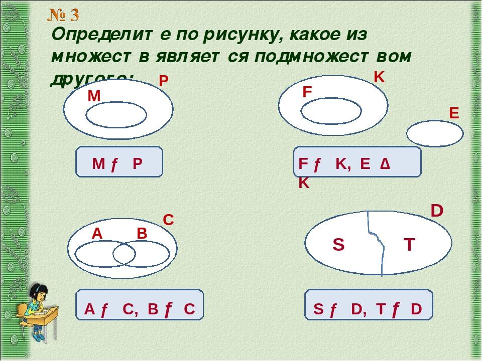 Определите по рисунку, какое из множеств является подмножеством другого: Р М...