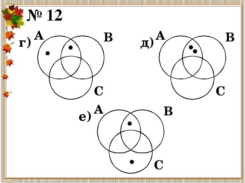 № 12 г) А В С д) А В С е) А В С