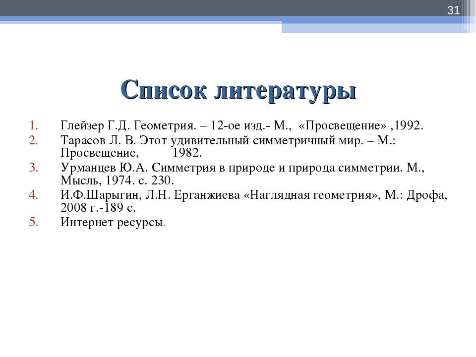Список литературы Глейзер Г.Д. Геометрия. – 12-ое изд.- М., «Просвещение» ,19...
