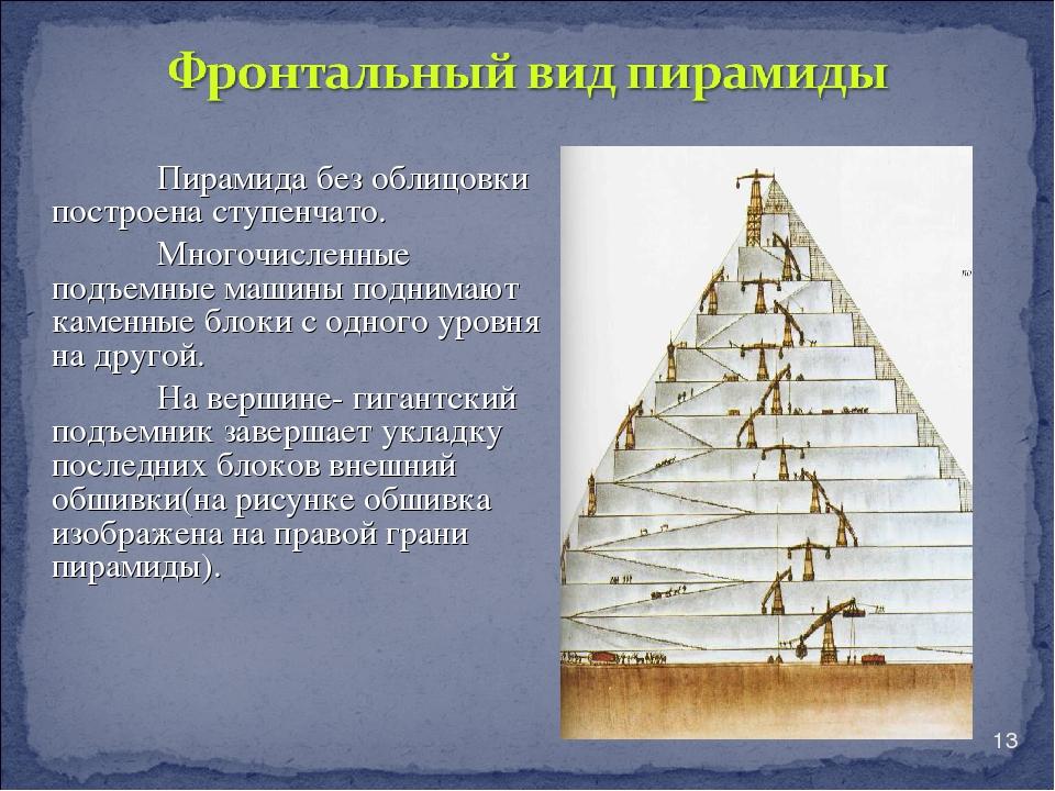 * Пирамида без облицовки построена ступенчато. Многочисленные подъемные машин...