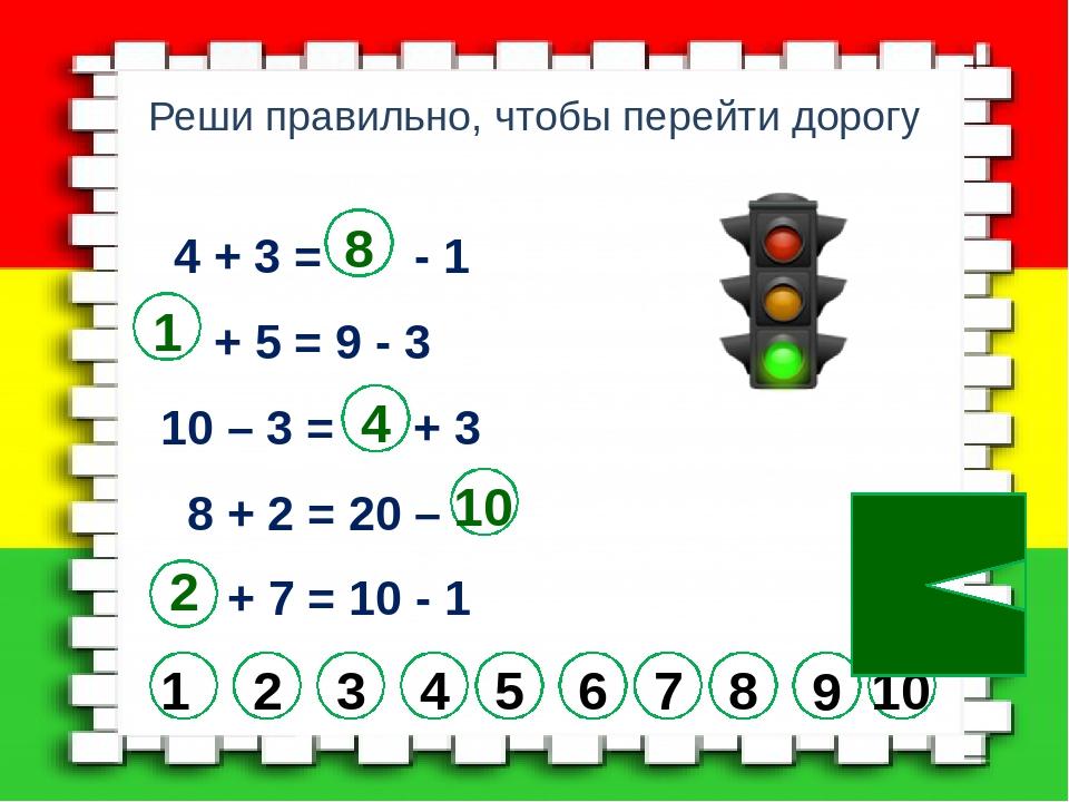 Реши правильно, чтобы перейти дорогу 4 + 3 = - 1 + 5 = 9 - 3 10 – 3 = + 3 8 +...