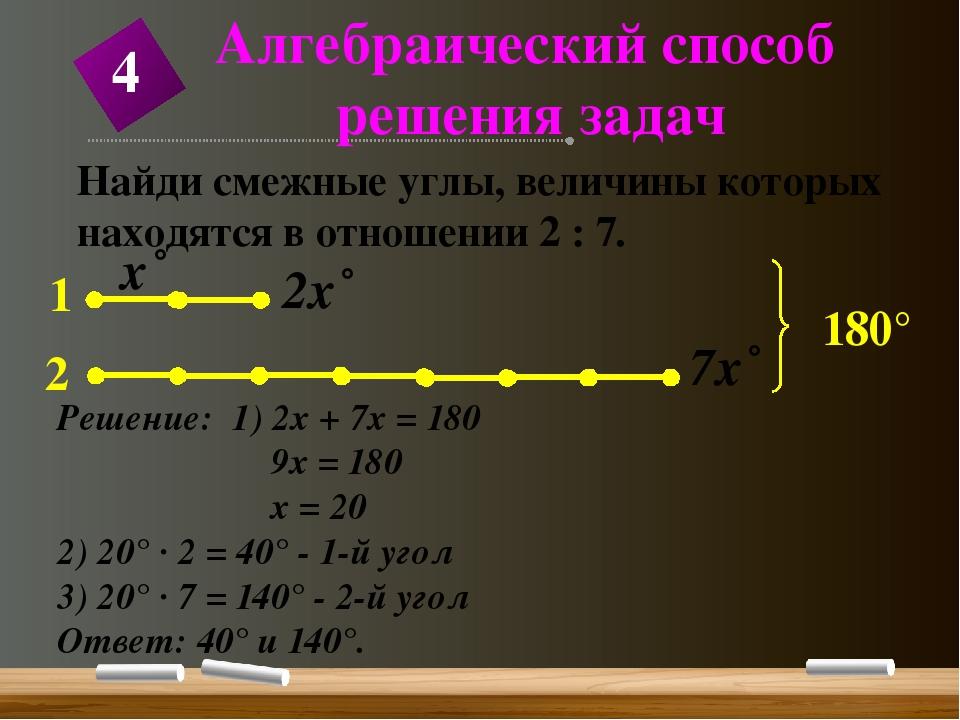 Найди смежные углы, величины которых находятся в отношении 2 : 7. Решение: 1)...