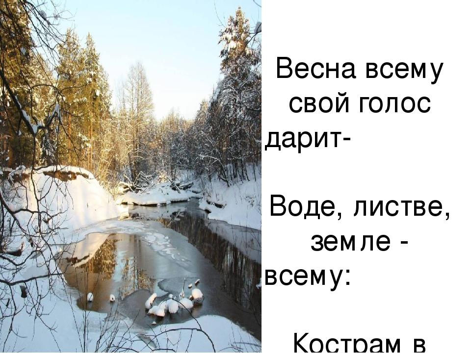 Весна всему свой голос дарит- Воде, листве, земле - всему: Кострам в лесу и п...