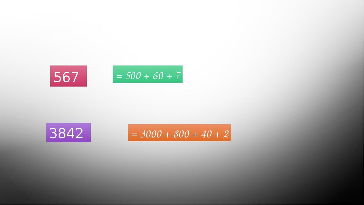 Назовите разрядное слагаемое 567 3842 = 500 + 60 + 7 = 3000 + 800 + 40 + 2