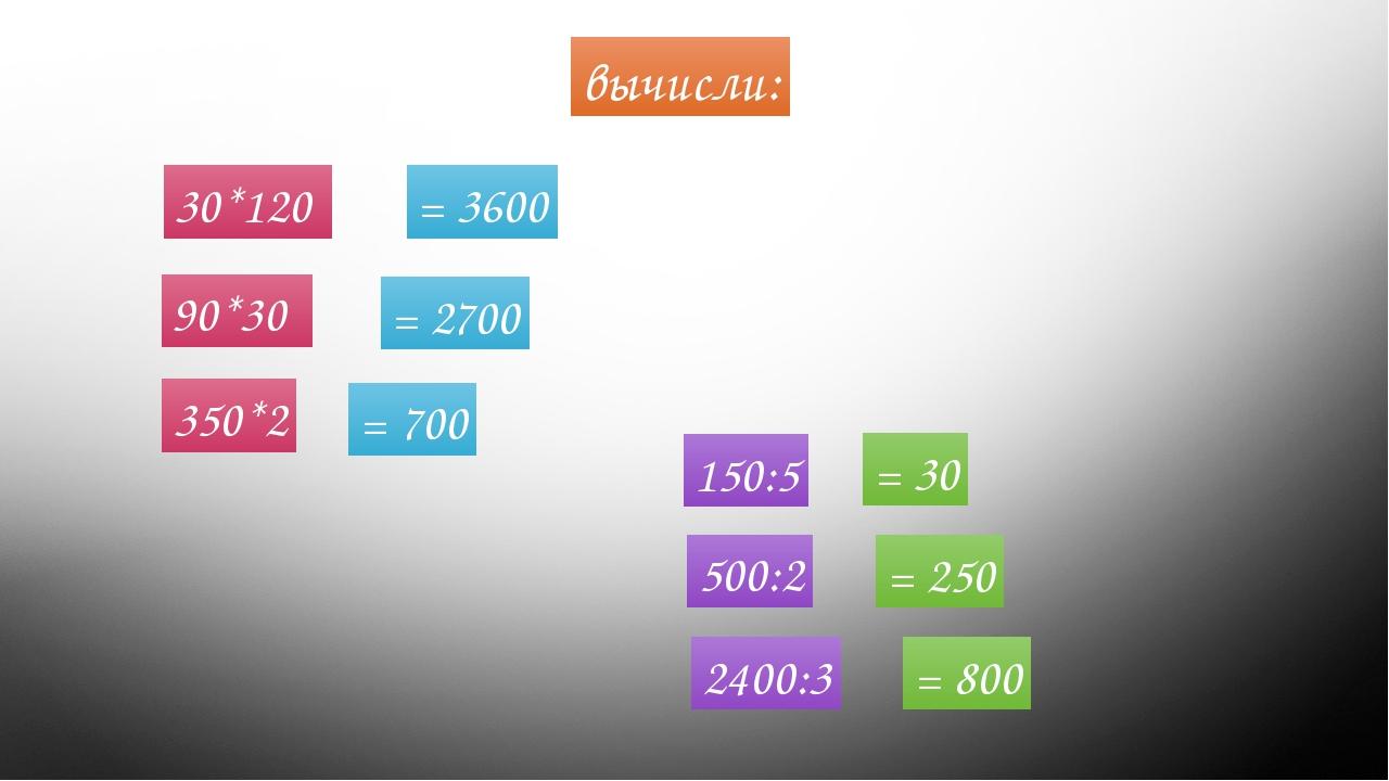 30*120 вычисли: 90*30 350*2 150:5 500:2 2400:3 = 3600 = 2700 = 700 = 30 = 250...