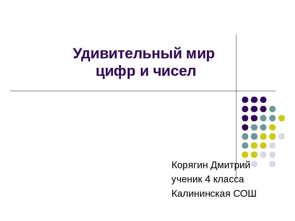 Удивительный мир цифр и чисел Корягин Дмитрий ученик 4 класса Калининская СОШ