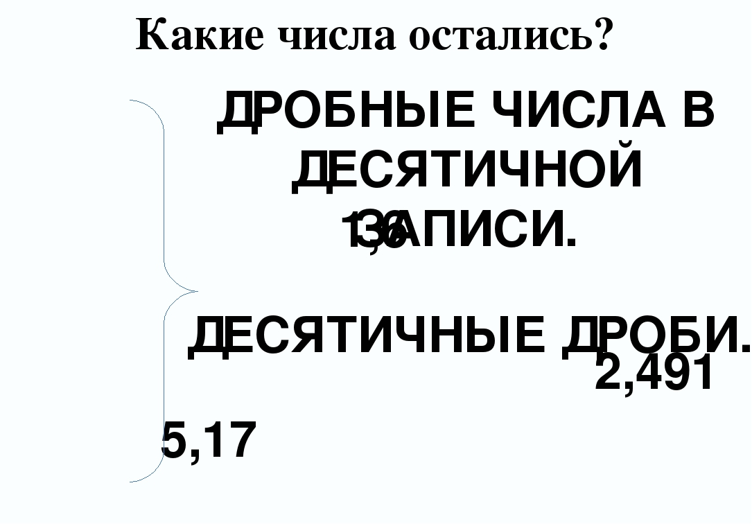 Какие числа остались? 5,17 1,6 2,491 ДРОБНЫЕ ЧИСЛА В ДЕСЯТИЧНОЙ ЗАПИСИ. ДЕСЯТ...