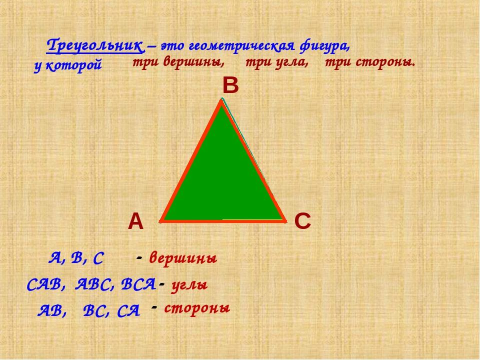 Треугольник – это геометрическая фигура, у которой А В С три вершины, три угл...
