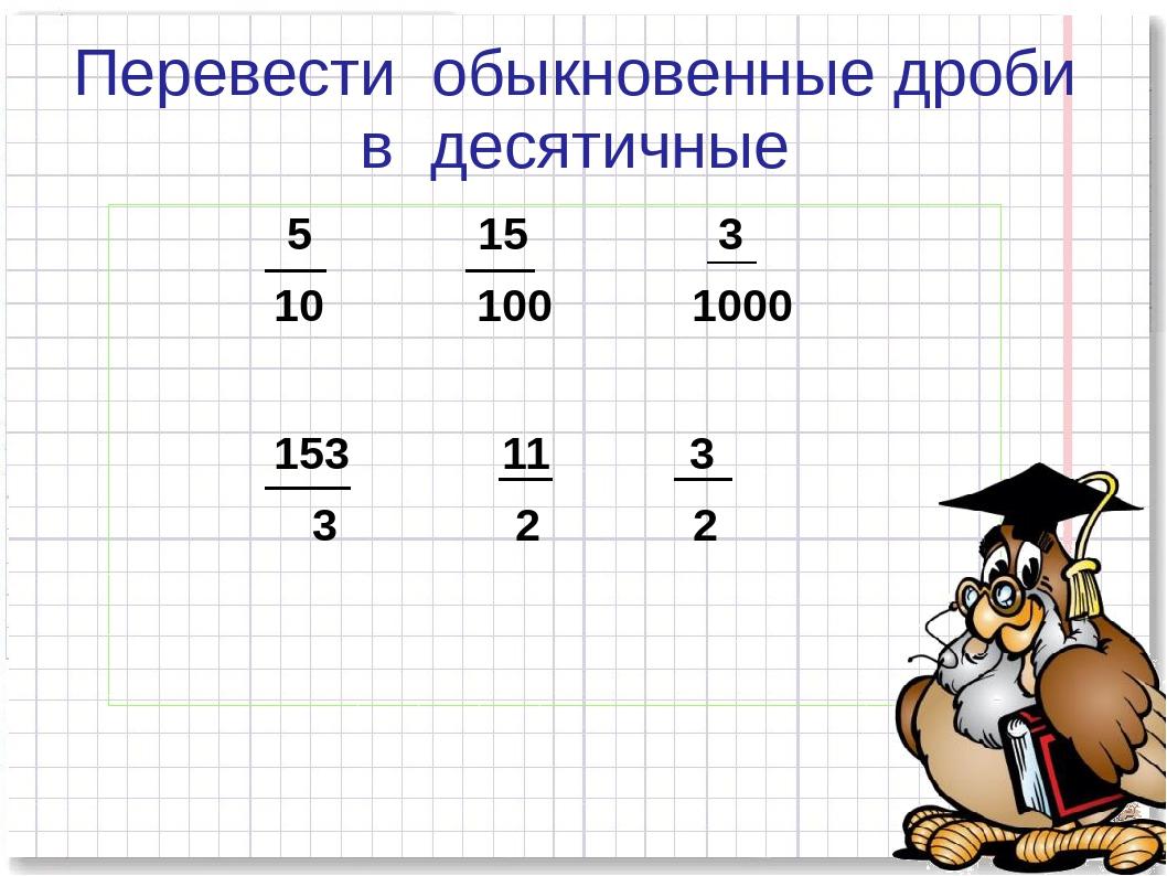 Перевести обыкновенные дроби в десятичные 5 15 3 10 100 1000 153 11 3 3 2 2 К...