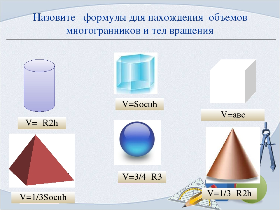 Назовите формулы для нахождения объемов многогранников и тел вращения V=Sоснh...
