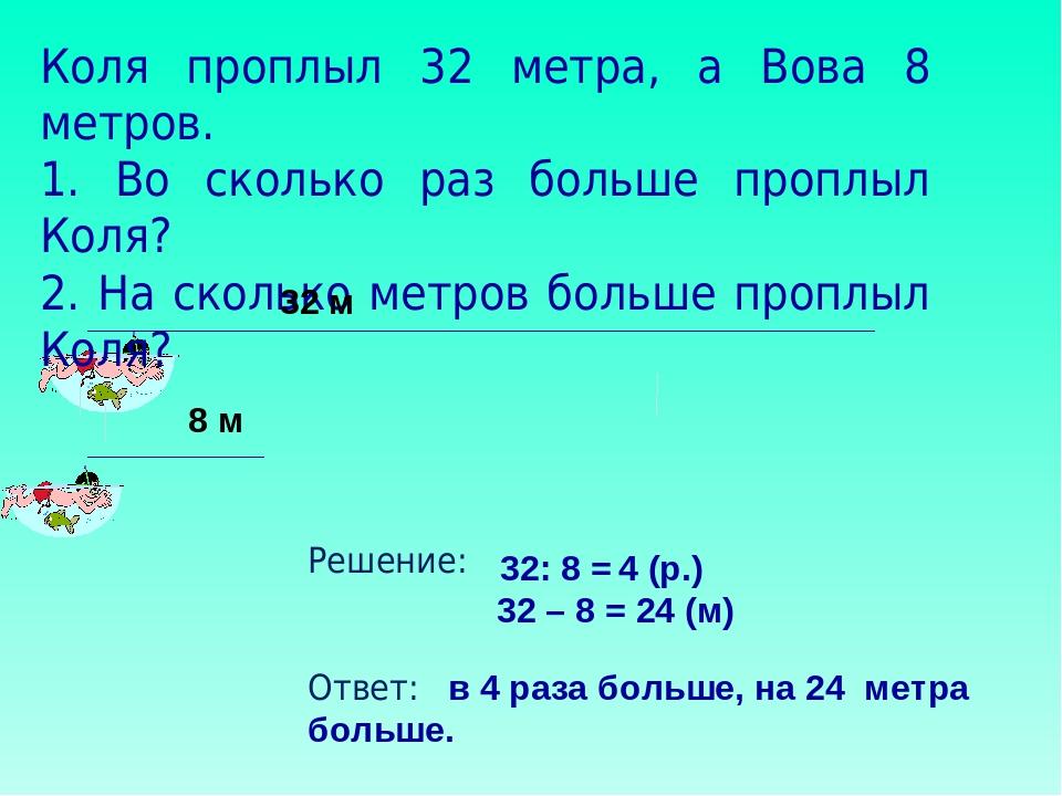 Коля проплыл 32 метра, а Вова 8 метров. 1. Во сколько раз больше проплыл Коля...