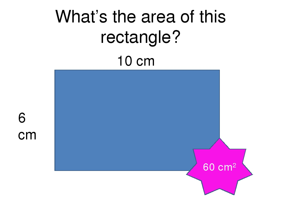 What's the area of this rectangle? 10 cm 6 cm 60 cm2