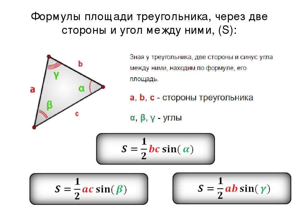 Формулы площади треугольника, через две стороны и угол между ними, (S):